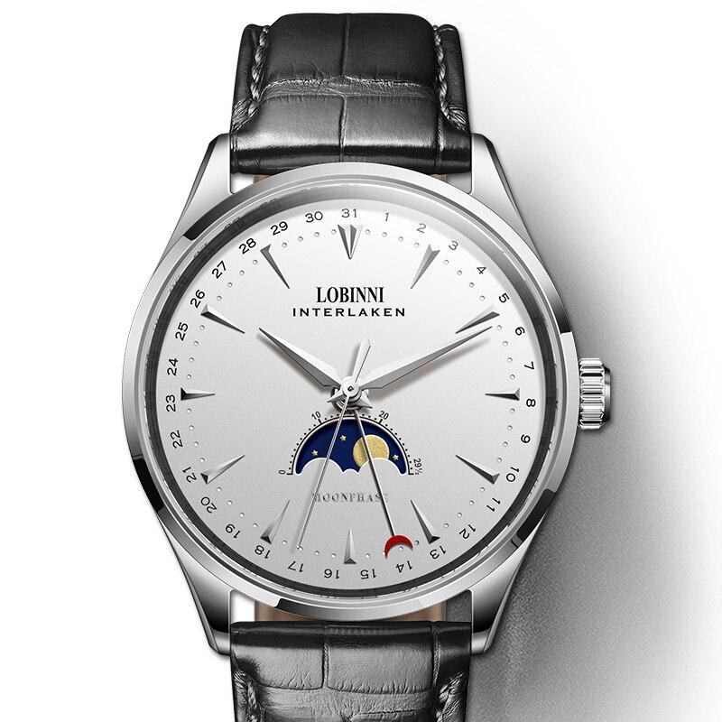 Suisse LOBINNI Hommes Montres De Luxe Marque Moon Phase Mécanique Automatique Hommes Horloge de Saphir En Cuir relogio masculino L16012-1
