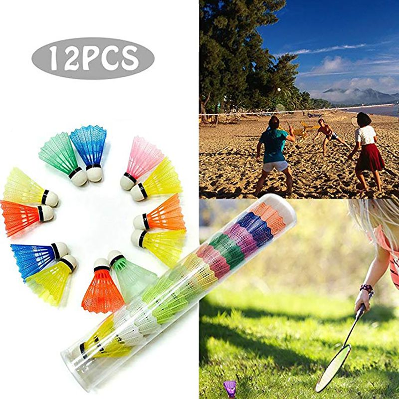 12pcs/set Colorful Shuttlecock Portable Plastic Training Badminton Ball Outdoor Sports Activities Supplies