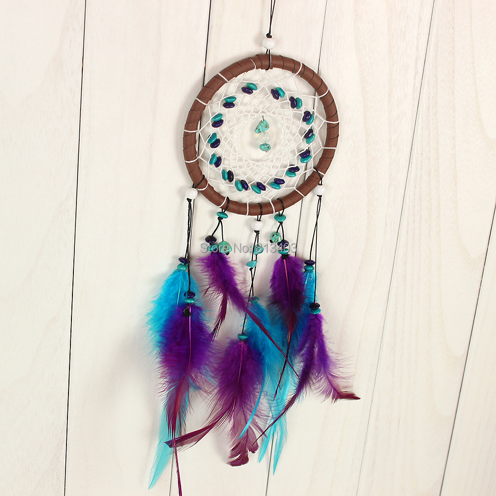 Handmade Dream Catcher Native America Feather Car Home Hanging Decorations With Purple And Blue Free Shipping