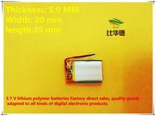 (Frete grátis) (5 peças/lote) factory outlet 502035 300 mah 3.7 V Bateria de lítio-ion bateria de polímero de qualidade de bens