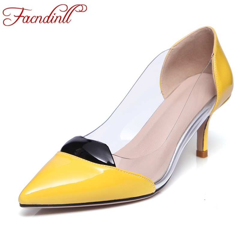 FACNDINLL quality patent leather pumps sexy high heels party wedding shoes women shoes nude pumps classic pointed toe dress shoe size34 39 shoes woman red pumps high heels 9 cm party wedding shoes patent leather pointed toe sexy black nude womens shoes