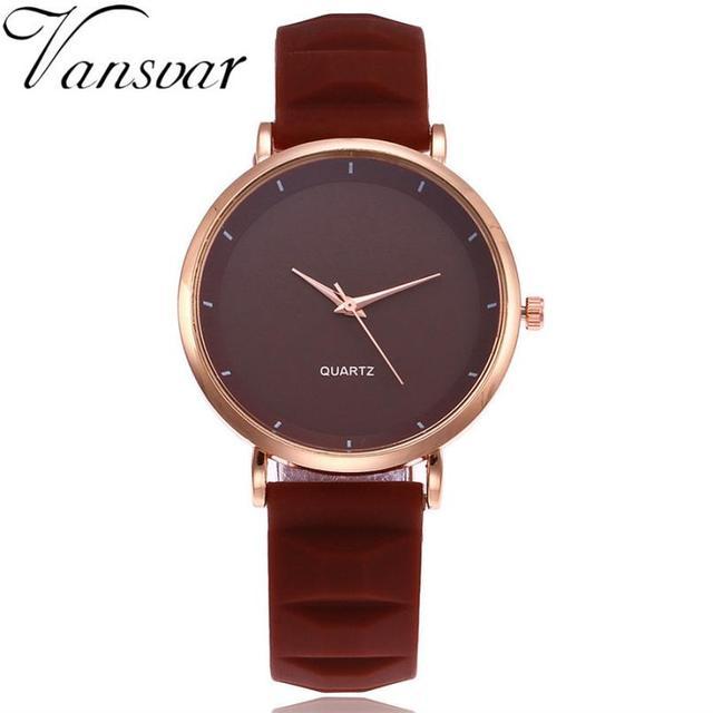 Women Watch vansvar brand Quartz Wrist Watch Retro Silica Gel Casual Leather Ladies Bracelet Watches reloj mujer 2018 #D