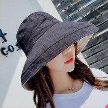 BINGYUANHAOXUAN Summer women Bucket fishing Hats Sunscreen Sun Cap Folding Big Brim Spring Solid Ladys Fisherman hat