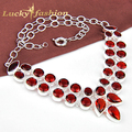 Fashion jewelry accessories hot Mothers Day stylish gift PRECIOUS Double row garnet rhinestone statement necklace