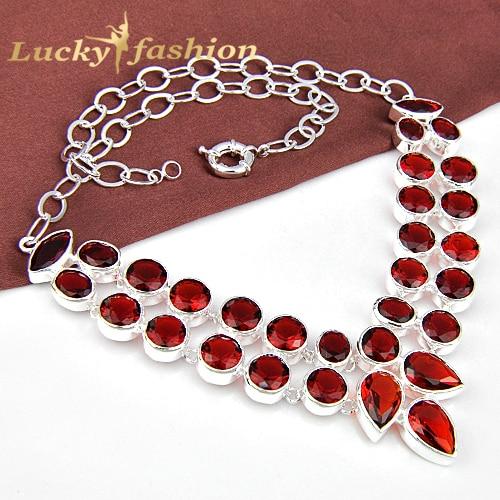 Fashion jewelry accessories hot Mothers Day stylish gift PRECIOUS Double row garnet rhinestone statement necklace