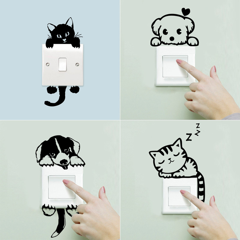 Newest Funny Cartoon Cute Cat Dog Diy Switch Stickers Wall Stickers For Home Decoration Bedroom Bathroom
