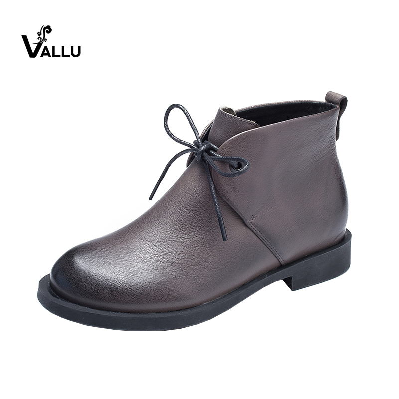 2018 VALLU Genuine Leather Women Shoes Ankle Boots Lace Up Martin Boots Handmade Vintage Ladies Causal Boots women boots genuine leather lace up ladies shoes lace up grey black ankle boots light eva sole slip proof martin boots a1
