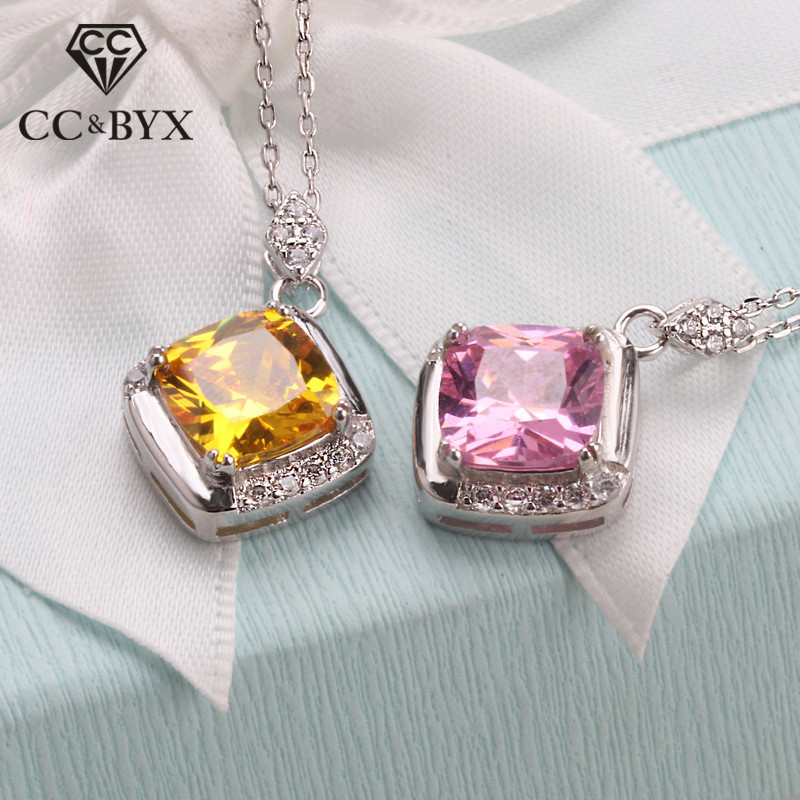CC Necklaces Pendants For Women 925 Sterling Silver Cubic Zirconia Square Pink/Yellow Stone Fashion Jewelry No Chain CCN257