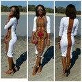 Горячая продажа африканский традиционный стиль белая печать sexy dress длинным рукавом вернуться сплит африке женщины лето dress