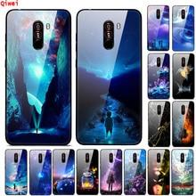 For Funda Xiaomi Pocophone F1 Case Tempered Hard Back Glass