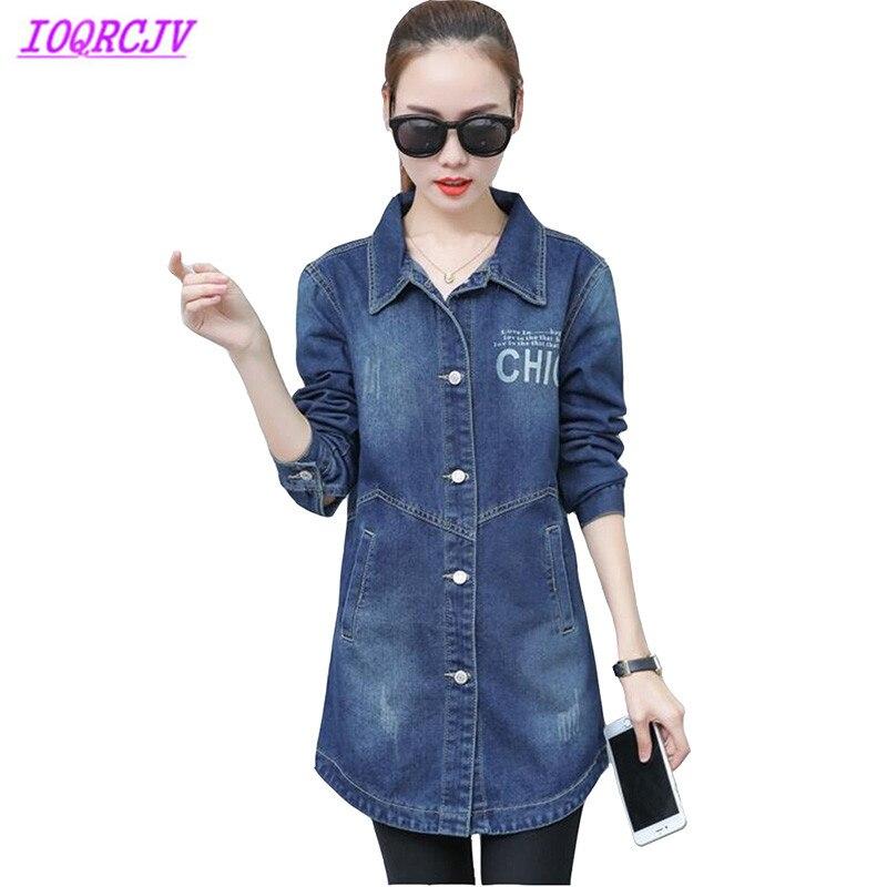 Denim   trench   coat for womens 2018 spring autumn fashion Medium length coat Plus size Windbreaker female Slim top jeans coat H390