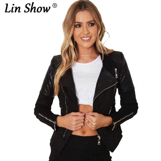 a62d88054 US $45.2 |LINSHOW Solid Turn down Collar Slim Leather Bomber Jacket Black  Spliced Zippers Suede Coats Spring Winter Club Women Outerwear-in Basic ...