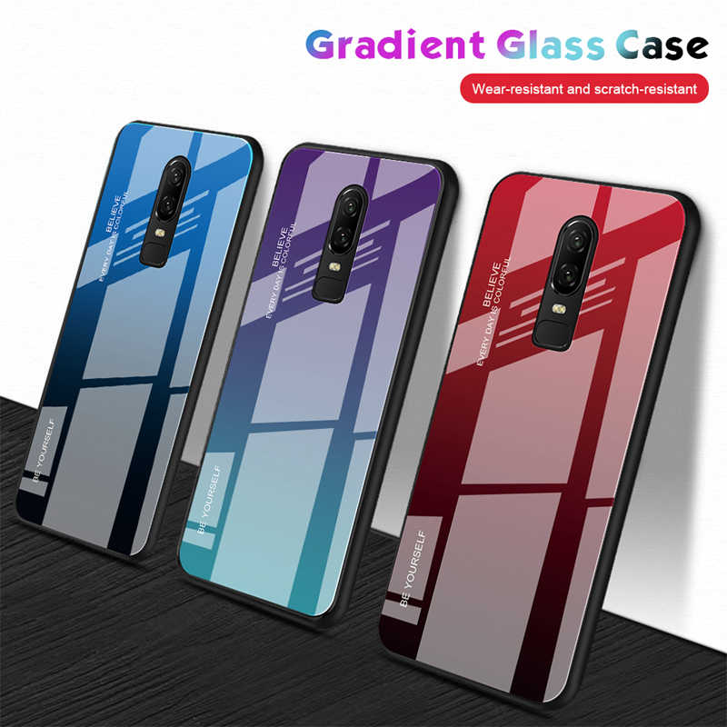 Gradient Tempered Glass Phone Case For Oneplus One Plus 7 Pro 6T 6 Aurora Glass Cover For OnePlus 6 6t A6100 Protective Coque