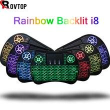 7 цветов с подсветкой I8 Мини испанская Беспроводная клавиатура мышь 2,4 ГГц USB клавиатура для ноутбука Smart tv Английский Русский с тачпадом