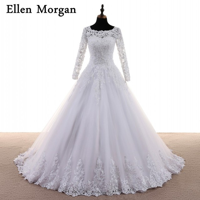 Long Sleeve Lace Ball Gowns Wedding Dresses Appliques Beaded Tulle Sexy Lace Up Online Shop Cheap China Bridal Gowns