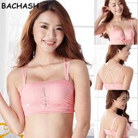 Cropped Feminino Women Crop Top Cropped Padded Bra Tank Top Athletic Vest Gym Fitness Sports Stretch
