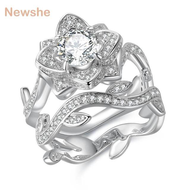 Newshe 2.3 قيراط 925 فضة خاتم الزواج مجموعة زهرة شكل خاتم الخطوبة الكلاسيكية مجوهرات للنساء JR4580