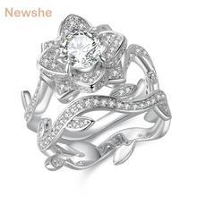 Newshe 2.3 Quilates Conjunto Anel de Casamento Banda de Noivado Forma De Flor 925 Sterling Silver Clássico Jóias Para Mulheres JR4580