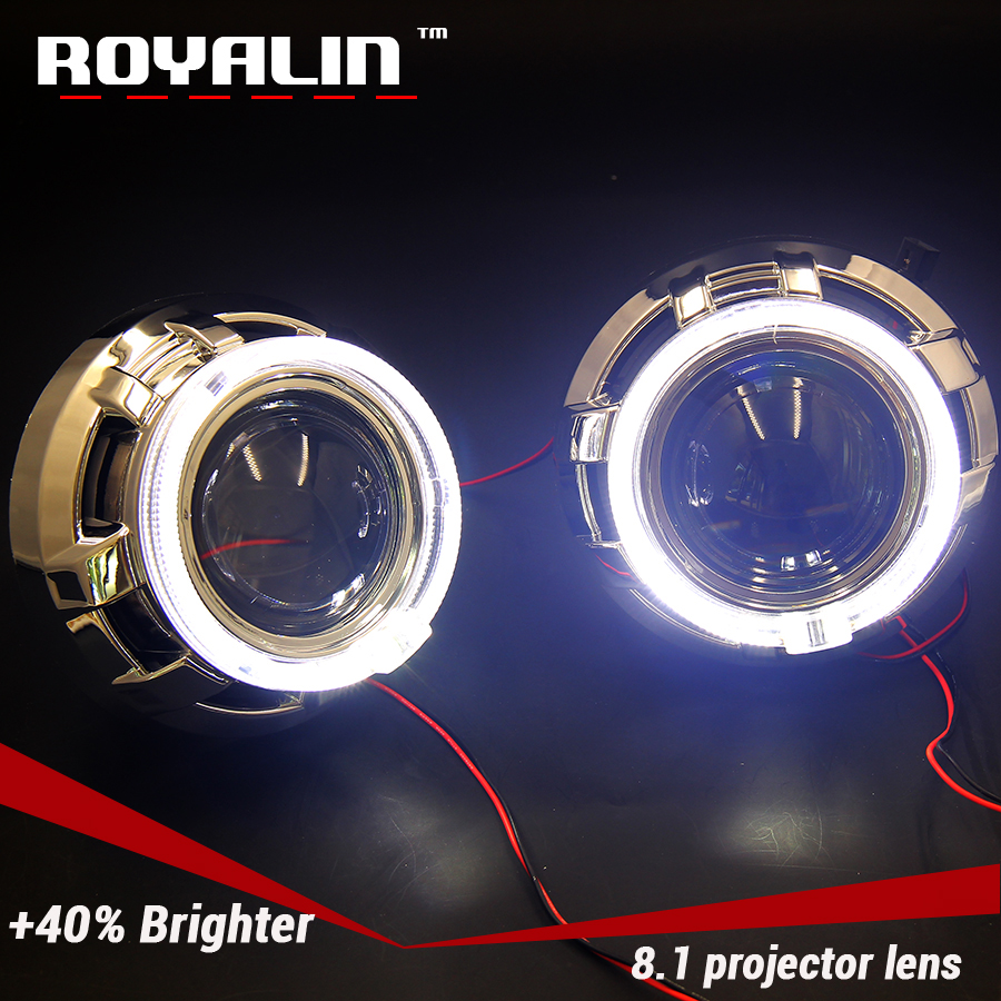 ROYALIN 8.1 Version H1 HID Head Light Mini 2.5 Projector Lens For H4 H7 Auto Lamps w/ LED Angel Eyes Shrouds for Apollo White free shipping iphcar lhd rhd auto driving front lens universal led ring angel eyes light mini projector headlight for h1 h4 h7