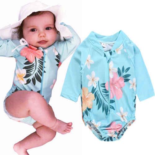 Heißer Kleinkind Kind Baby Mädchen Bademode Badeanzug Bikini Badeanzug Schwimmen Kostüm Langarm O Hals Gedruckt Nette Bademode