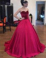2018 Luxury White Burgundy Satin Strapless Wedding Dresses Sweep Train Robe De Mariage Velvet Tops Lace