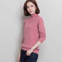 2017 New Cashmere Sweater Female High Collar Sweater Argyle Pattern Soft Pure Cashmere Pullover Women