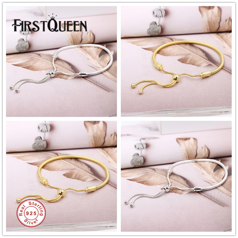 FirstQueen Sliding Bracelet Pure 925 Sterling Silver & Rose Gold & Shine 16cm to 28cm Fine Jewelry Fits Most Charms Beads