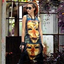 Solo ¡! nunca hip hop mujeres trajes 2 piezas conjunto chaleco y pantalones de dibujos animados máscara de metal estampado verano hippie negro algodón apretado de los años 90