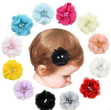 1 Pcs Baby Hair Solid Chiffon Flower Clips Newborn Baby Mini Hair Clips Hair Accessories Kids Hair Barrettes Girls Clips