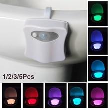 8 Colors Hanging Toilet Bowl LED Automatic Night Light Body Sensing Changing WC Motion Sensor Light Nachtlampje Veilleuse lampe
