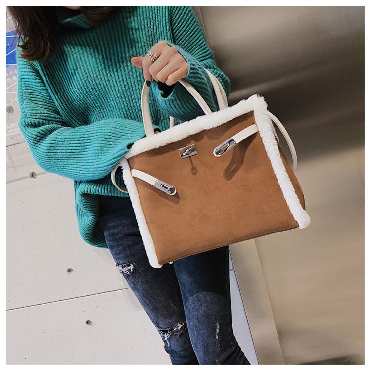 Korean handbag large capacity bucket hand bag designer big tote designer Fur women messengerc winter shopping wool no lock 97