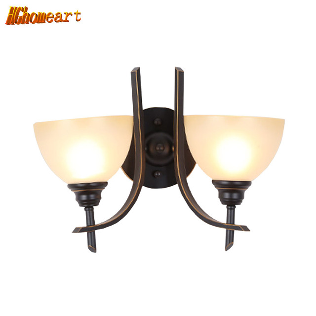 HGHomeart American Industrial Wall Sconces Shine  Retro Lamps for Iron Reading Bed Loft Lights Stair Lamp Hooks on The Wall