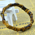 Beautiful Rarely Tiger eye Gem Stone Bamboo Joint Beads Elastic Bracelet fashion Jewelry Bracelets Stretch Bangle