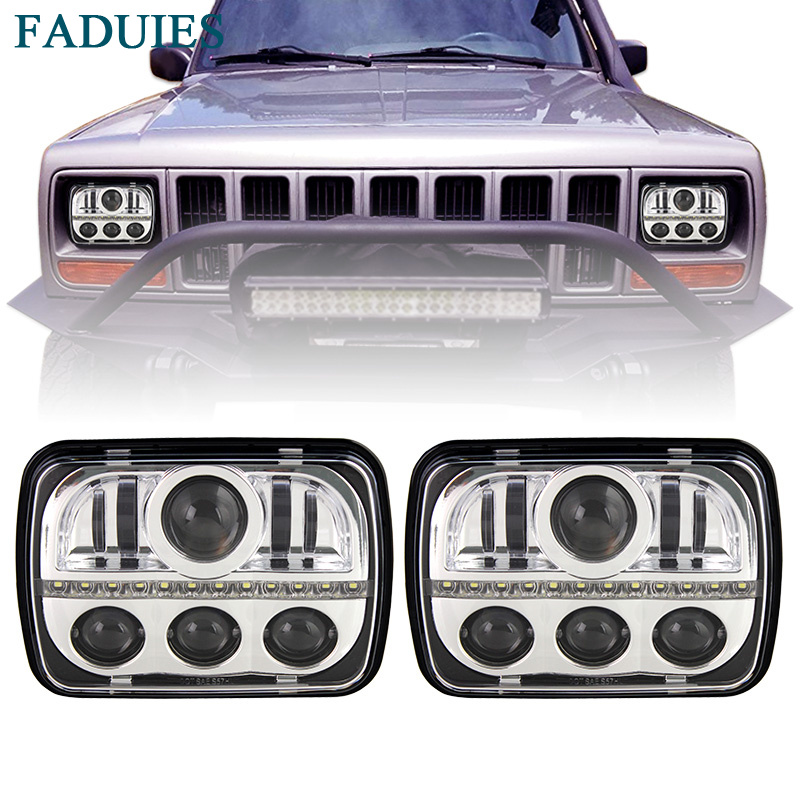 FADUIES Chrome 5x7 inch rectangular LED headlights For Jeep Cherokee Headlights Truck Offroad H6014 H6052 H6054 H5054 With DRL аккумулятор yoobao yb 6014 10400mah green