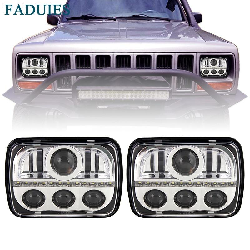 FADUIES Chrome 5x7 inch rectangular LED headlights For Jeep Cherokee Headlights Truck Offroad H6014 H6052 H6054 H5054 With DRL faduies 1 pair 5x7 7x6 inch rectangular