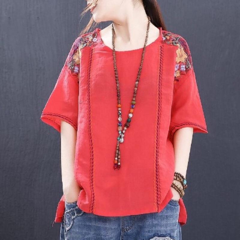 Blouse Women Plus Size Short Sleeve Vintage Blouse Ladies Cotton Embroidery Casual Tops