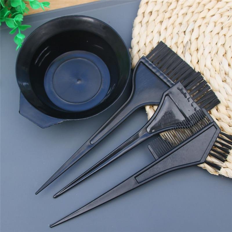 4 Pcs/Set Large Size Professional Salon Hair Dye Set Quality Hair Color Brush Comb Mixing Bowl Tint Tool Headed Brushes Set 4