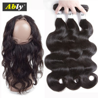360 Lace Frontal With Bundles Brazilian Virgin Human Hair Bundles With Frontal Closure Pre Plucked 360 Frontal With Bundles