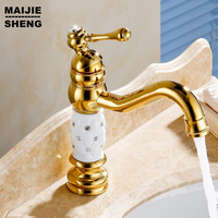 Free shipping Bathroom crane Gold finish with white Brass Basin Sink Faucet Single Handle with ceramic taps Modern basin faucet