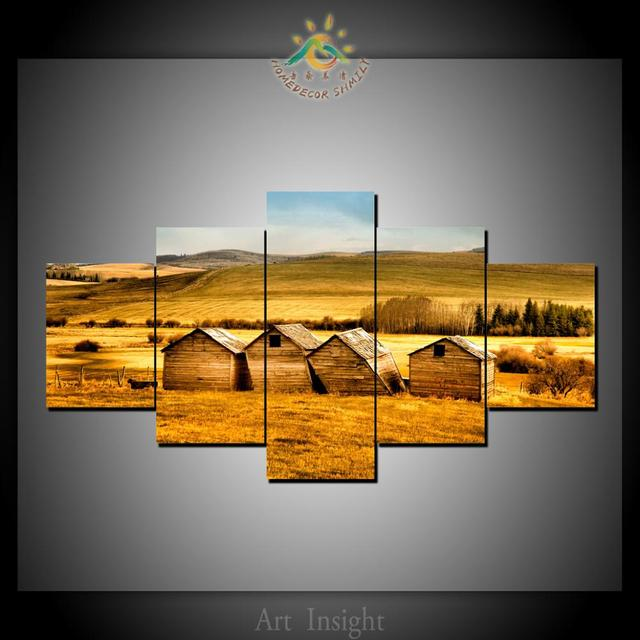 5 panel barns fields wall art for home decoration cheap artwork
