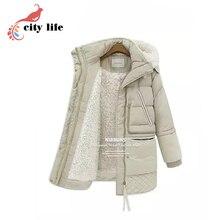 Size 3XL Wool Liner Woman Winter Parkas ,2016 New Fur Hooded Thick Cotton Coat ,Super Warm Winter Black Beige Jackets