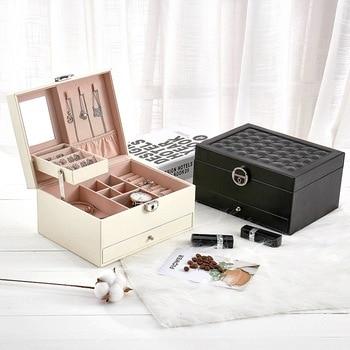 Casegrace Black Large PU Leather Jewelry Storage Box Velvet Watch Earring Ring Necklace Bracelet Jewellery
