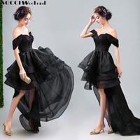 FIM de SEMANA SOCCI 2017 Little Black Dresses Organza Curto Frente longos Vestidos de Noite Preto Sexy Lace up Casamento Formal Do Partido Vestido