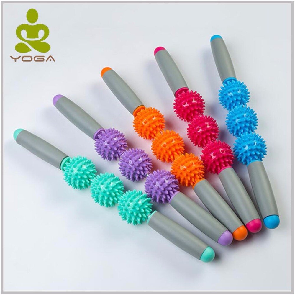 18inch Gym Muscle Massage Roller Yoga Stick Muscle Body Massage Relax Tool Muscle Roller Sticks with Point Spiky Ball elite fitness massager roller stick trigger point muscle roller exercise therapy releasing tight body massage tool gym rolling