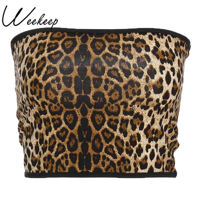 Weekeep Sexy Leopard Tube Top Women Summer Strapless Slim Waist Bandeau Tops For Women 2018 Streetwear Off Shoulder Crop Top