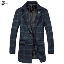 XMY3DWX мужчины осень slim fit досуг однобортный шерстяная ткань пальто/Мужской моды плед долго траншеи пальто/большой размер куртки