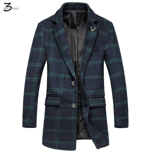 XMY3DWX men fall slim fit leisure single-breasted woolen cloth coat/Male fashion plaid long trench coat/Large size jackets