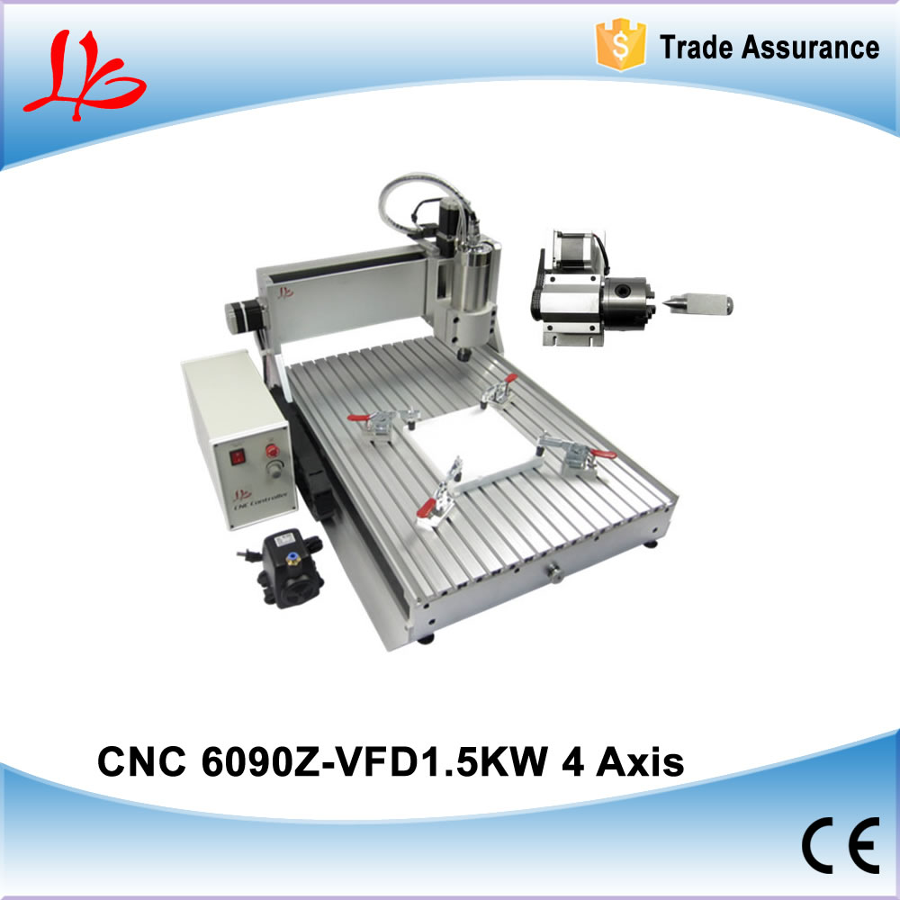 4 Axis CNC Router 6090 with 1.5KW VFD spindle, metal carving machine for 3D engraving cnc 5axis a aixs rotary axis t chuck type for cnc router cnc milling machine best quality