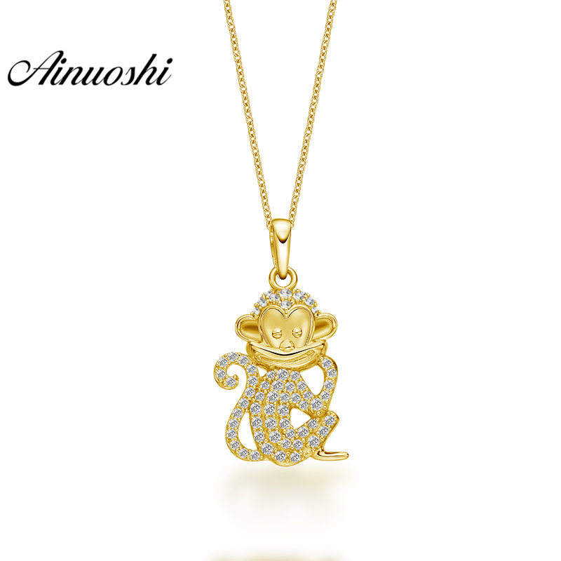 все цены на AINUOSHI 10K Solid Yellow Gold Pendant Shining Little Monkey Pendant SONA Diamond Women Men Jewelry Cute Animal Separate Pendant онлайн