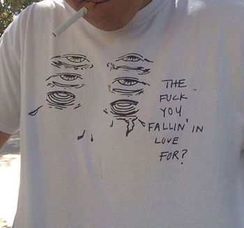 Fallin' In Love for Funny Quotes T Shirt Man Summer Fashion Casual Tumblr Grunge White Tee Aesthetic Art T Shirts Outfits